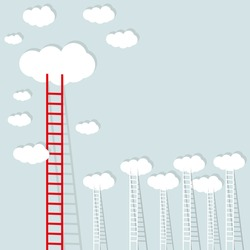big red ladder from cloud with small white ones. goal setting business concept background