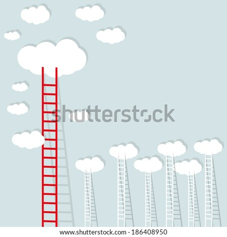 big red ladder from cloud with