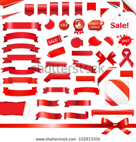 Big Red Ribbons Set, Isolated On White Background, Vector Illustration