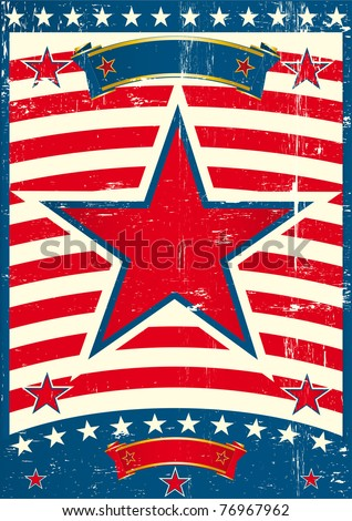 Big red star on a US poster theme. A patriotic background for you - stock vector