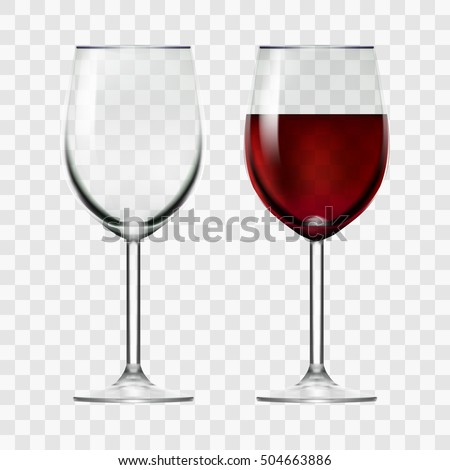 big reds wine empty glass and