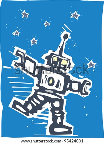 Big Robot dancing to some unheard music against night sky