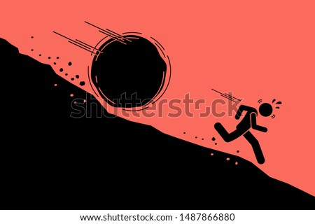 Big rock or boulder rolling down on a man from steep mountain hill slope. Vector concept artwork of danger, risk, problem, and crisis.  Stockfoto ©