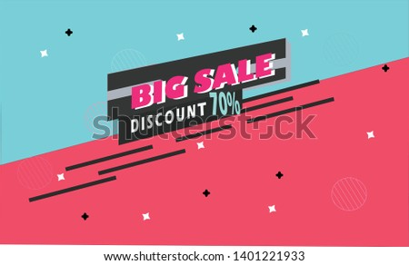 Big Sale, a 70 percent discount for the design of banner templates. Promotional discounts, special offers, great deals for businesses. - Vector