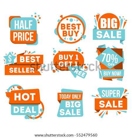 Big sale and hot deal badge isolated in white background