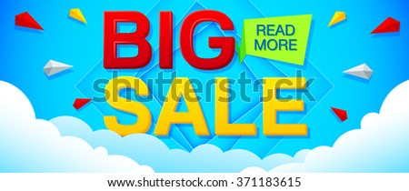 Big Sale and special offer banner on a bright blue background. Sale background. Sale poster. Sale vector. Geometric design. Vector illustration