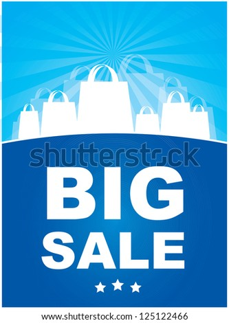 Big sale announcement over blue background