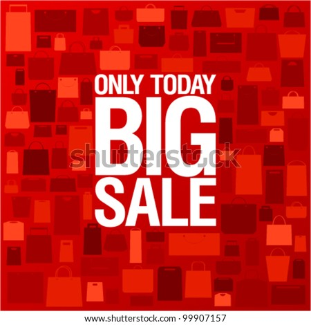 Big sale background with shopping bags pattern.