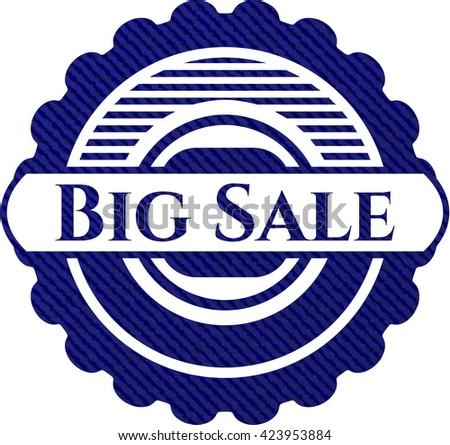 Big Sale badge with jean texture