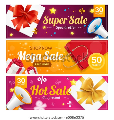 Big Sale Banner Card Horizontal Set Special Offer Seasonal Discount. Vector illustration