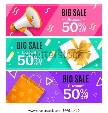 Big Sale Banner Card Horizontal Set Trendy Color Seasonal Discount. Vector illustration