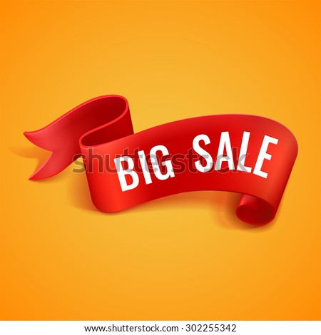 Big sale banner. Red realistic curved paper ribbon. With space for text. Isolated on orange background. Vector illustration.