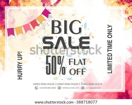 Big Sale Banner, Sale Poster, Sale Flyer, Sale Vector. 50% Off, Sale Background. Vector illustration.