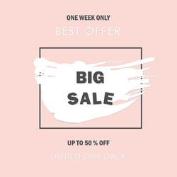 big sale banner. salle offer price sign. brush vector banner. discount text.