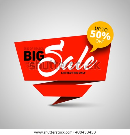 Big Sale banner, shop template design, 50 percent off. vector style