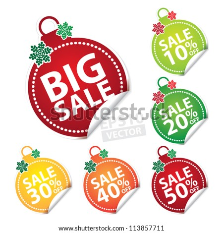 Big Sale Christmas Ball Sticker tags with Sale 10 - 50 percent text on Colorful Christmas Ball Sticker tags - EPS10 Vector