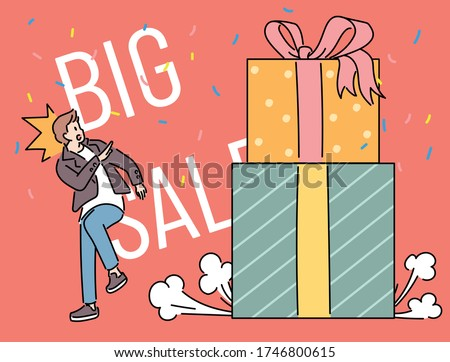 Big Sale Event Promotion Poster. The huge gift box falls and the man is startled. hand drawn style vector design illustrations.  Stockfoto ©