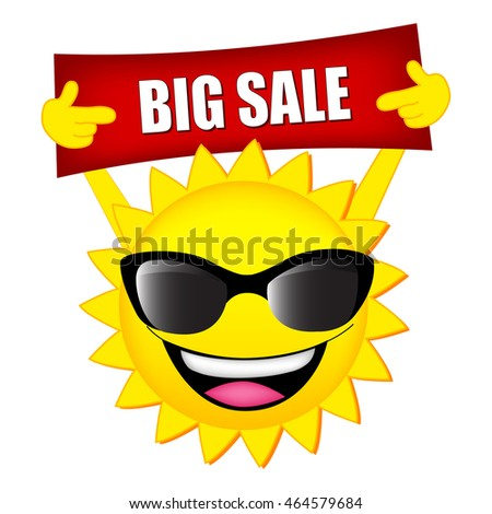 Big sale illustration with sun holding a big sale notice #464579684