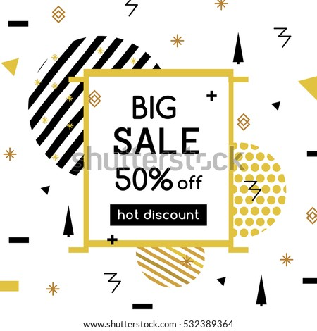 Big Sale modern banner in the Memphis style. Template. Special offer. Up to 50 interest discount. Bright golden colors for a flyer. vector