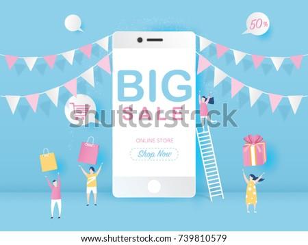 Big Sale on mobile phone for online sale with four young joyful people design for website banner or poster sale. Pastel color, Vector illustration.