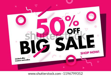 Big Sale Online Banner 50% OFF Sale. Special offer promo campaign advertising layout. Price Dropped up to 50% Off Discount Banner Trendy Pink Color Design Template. Shop Now. Vector Illustration.
