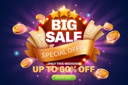 Big sale pop up ads with coupons and golden coins near the round marquee light board for publicity, glittering purple background