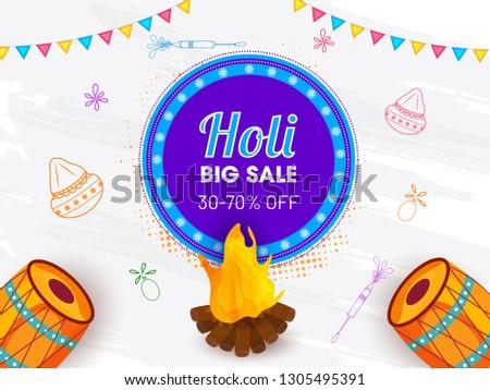 Big sale poster or banner design with illustration of festival elements for Happy Holi celebration.