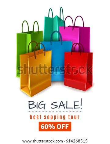 Big sale poster with colored paper shopping bags with handles on white background 3d vector illustration