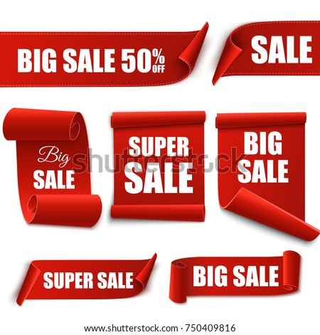Big Sale Red Banners isolated on white. Vector labels or tags