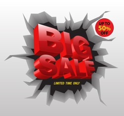 Big sale red on crack wall 3D style. Vector illustration for sale advertising.
