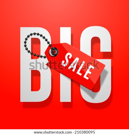 Big sale red poster with price tag, vector illustration.