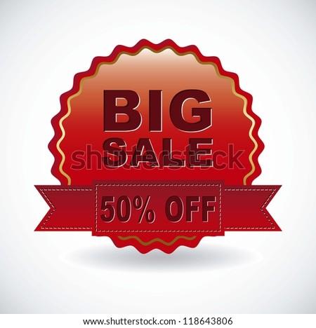 big sale ribbon over white background. vector illustration