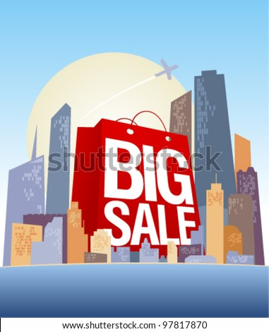 Big sale shopping bag in city, vector poster.