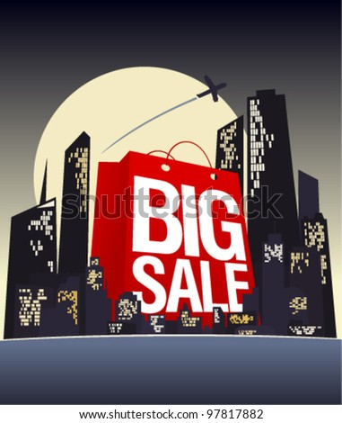 Big sale shopping bag in night city, vector poster.