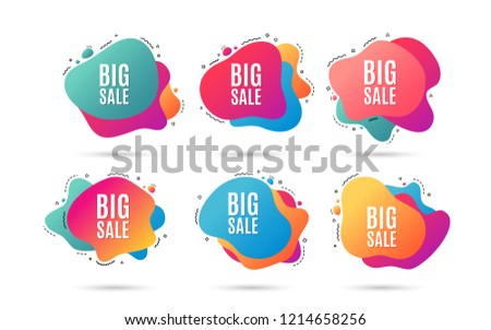 Big Sale. Special offer price sign. Advertising Discount symbol. Abstract dynamic shapes with icons. Gradient big sale banners. Liquid abstract shapes. Discount vector