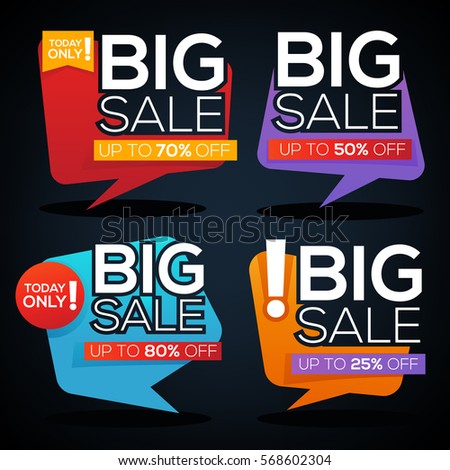 Big Sale speech bubbles, discount banner and label template design