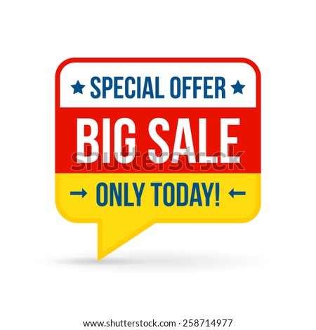 Big sale tag for online shop. Use on labels, stickers and icons. Vector illustration in flat design