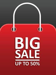 Big sale up to 50% vector. Red shopping bag vector isolated in black. Good for campaign, post feed, background. Big sale event.