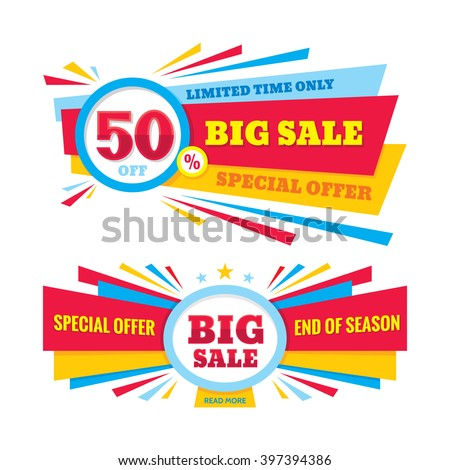 Big sale vector banner - discount 50% off. Special offer creative design layout. Limited time only! End of season.