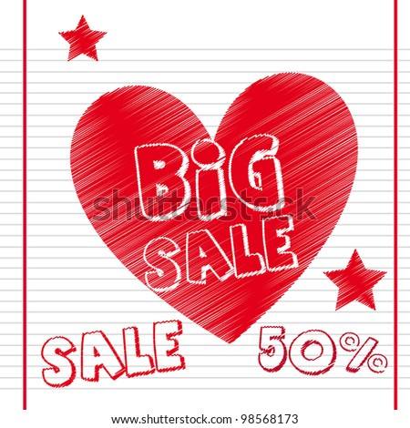 big sale with heart over notebook paper. vector illustration