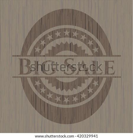 Big Sale wooden emblem. Retro