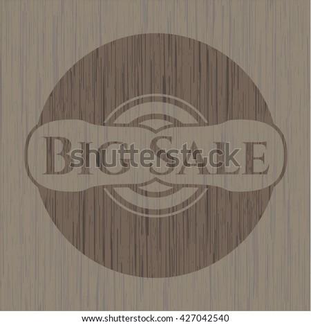 Big Sale wooden emblem. Vintage.