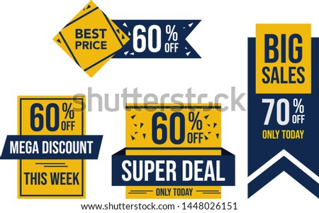 Big Sales, Only Today, Limited, Mega Discount, This Week, Promotion, Banner Promotion, Set of Promotion