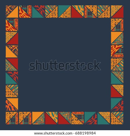 Big seamless african boho frame with triangle elements