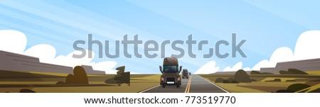 big semi truck trailer driving