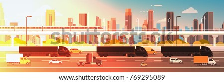 Big Semi Truck Trailers Driving In Line On Highway Road With Cars, Lorry Over City Background Delivery Cargo Concept Flat Vector Illustration