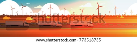 Big Semi Truck Trailers Driving Road Over Nature Sunset Landscape Horizontal Banner Vector Illustration