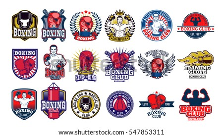 big set boxing badges  stickers