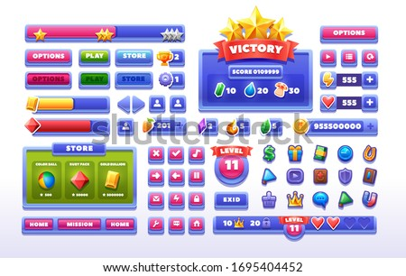 Big set buttons and icon for games design. Glass game UI kit. Vector game element isolated on white background.