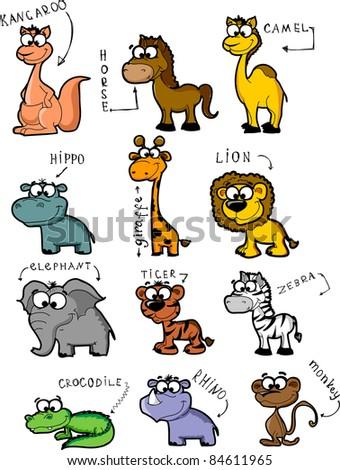 Big set cartoon animals